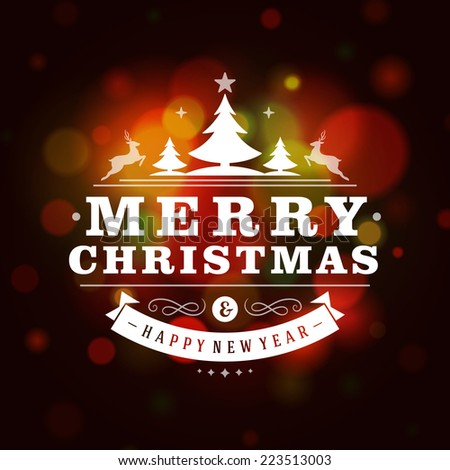 Christmas retro typography and light background. Merry Christmas holidays wish greeting card design and vintage ornament decoration. Happy new year message. Vector illustration Eps 10. - stock vector