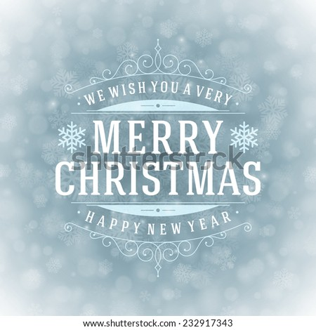 Christmas retro typography and light with snowflakes. Merry Christmas holidays wish greeting card design and vintage ornament decoration. Happy new year message. Vector background Eps 10. - stock vector