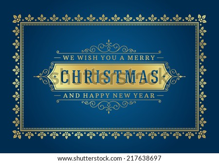 Christmas retro typography and ornament decoration. Merry Christmas holidays wish greeting card and vintage background. Happy new year message. Vector illustration Eps 10. - stock vector
