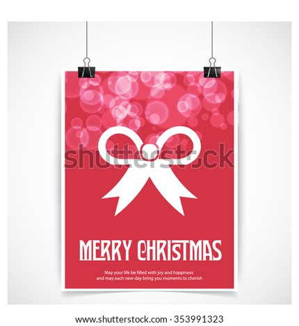 Christmas Ribbon gift bow. Red glowing background hanging poster vector template - stock vector