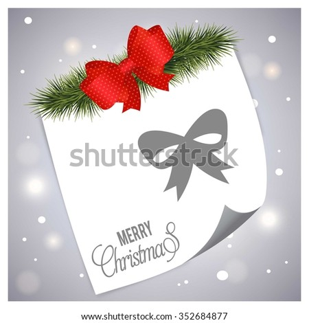 Christmas Ribbon gift bow. ribbon banner and christmas tree fir with page curl card on snow Blue background - stock vector