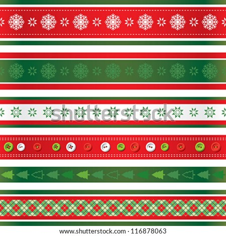 Christmas ribbons set - stock vector