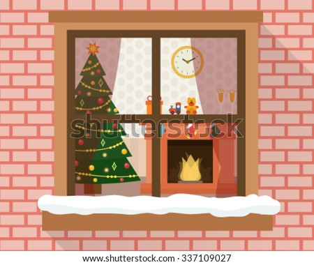 Christmas room with furniture, christmas tree and fireplace through the window. Flat style vector illustration. - stock vector