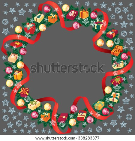 Christmas round frame or wreath of fir branches with snowflakes, red ribbon and gift boxes  - stock vector