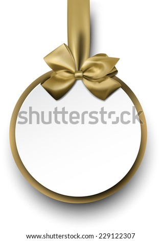 Christmas round gift card with golden ribbon and satin bow. Vector illustration.  - stock vector
