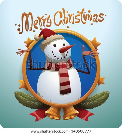 Christmas round gold label with stars bells and Christmas snowman in red christmas hat and scarf with red and white stripes, vector - stock vector
