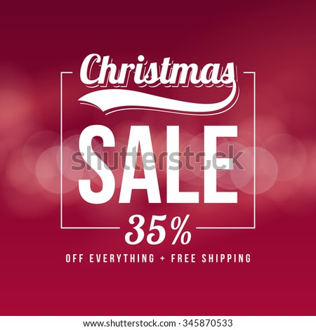 Christmas sale ad template. Retro style vector design on bokeh background. - stock vector