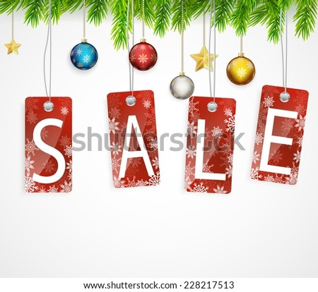 Christmas sale background with Christmas decoration - stock vector