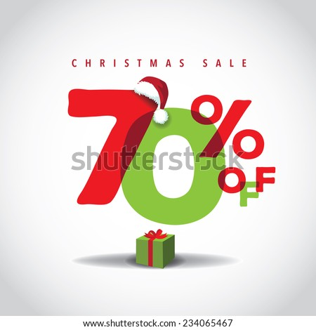 Christmas sale big bright overlapping design 70% off EPS 10 vector illustration  - stock vector