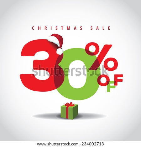 Christmas sale big bright overlapping design 30% off EPS 10 vector stock illustration - stock vector