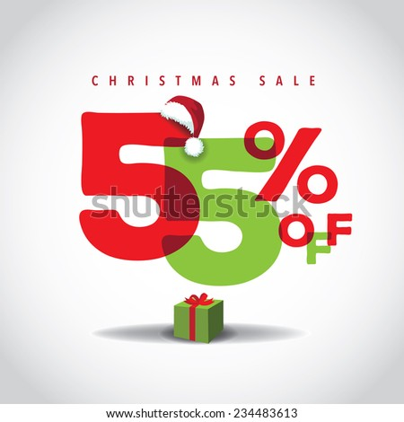 Christmas sale big bright overlapping design 55% off EPS 10 vector stock illustration - stock vector