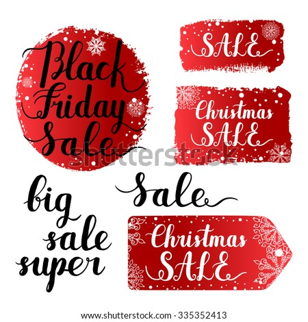 Christmas sale, Black Friday banner, label, round shape, tag ink hand lettering quote background with snowflakes. Vector paint brush stroke isolated on white background. Hand drawn grunge elements.  - stock vector