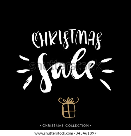 Christmas sale. Calligraphic card. Handwritten modern brush lettering. Hand drawn design elements. - stock vector