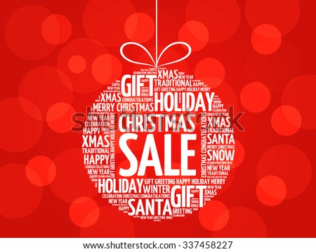 Christmas SALE, christmas ball word cloud, holidays lettering collage - stock vector