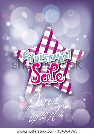 Christmas sale composition with checkered star and copy space - stock vector
