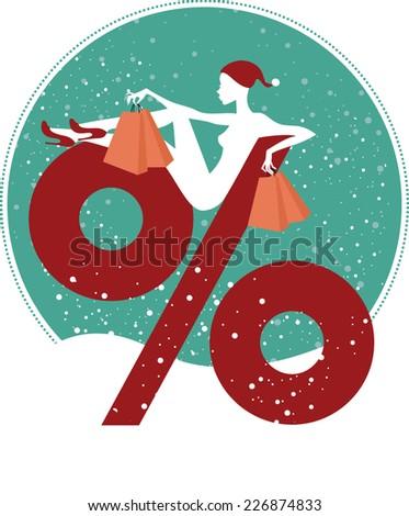 Christmas sale concept - stock vector