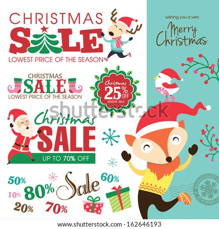 Christmas sale design elements  - stock vector