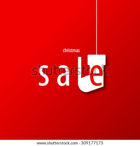 Christmas Sale Design Red Background - stock vector