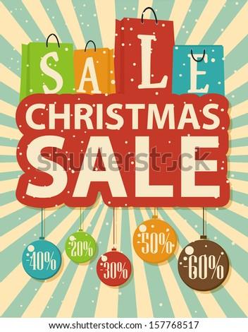 Christmas sale design with shopping bag and christmas balls - stock vector