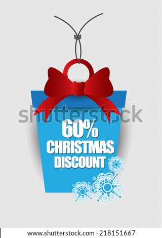 Christmas sale label - stock vector