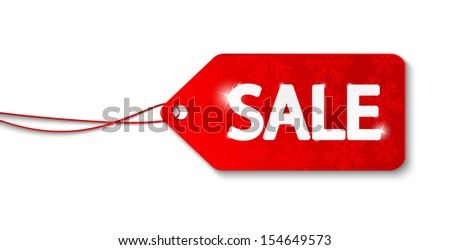 Christmas sale label on white - stock vector
