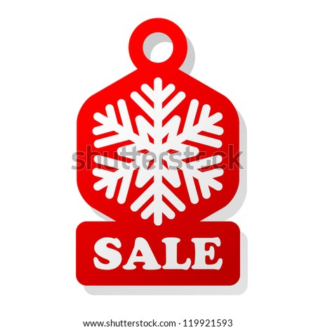Christmas Sale Label With Snowflake - stock vector