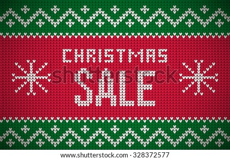 Christmas Sale message on northern style vector knitted pattern. Elements are layered separately in vector file. Global colors. Easy editable. - stock vector