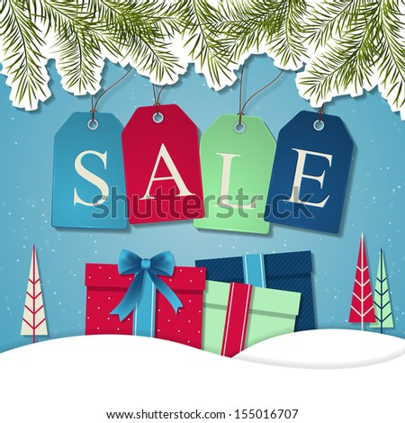 Christmas sale poster sign design. Vector illustration - stock vector