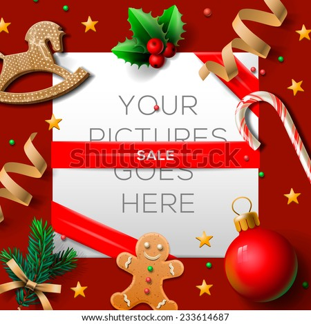 Christmas sale poster, vector illustration.  - stock vector