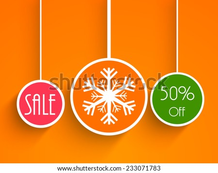 Christmas sale poster with colorful hanging X-mas balls decorated with stylish text and snowflake on orange background. - stock vector