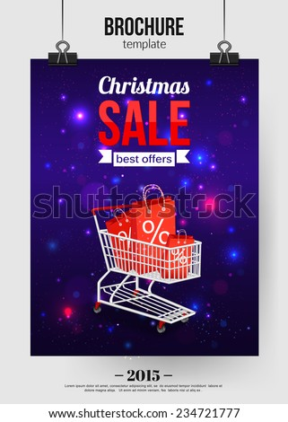 Christmas sale shining typographical background with place for text. Brochure design. Vector illustration. - stock vector