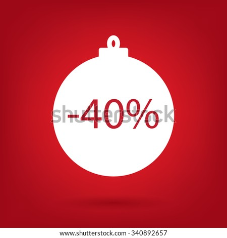 christmas sale sticker tag, 40 percent discount - stock vector