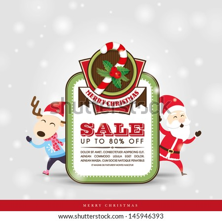 Christmas sale tag with Santa Claus & Reindeer - stock vector