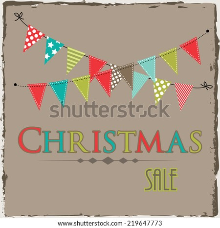 Christmas sale template with bunting or banner on brown grunge background - stock vector