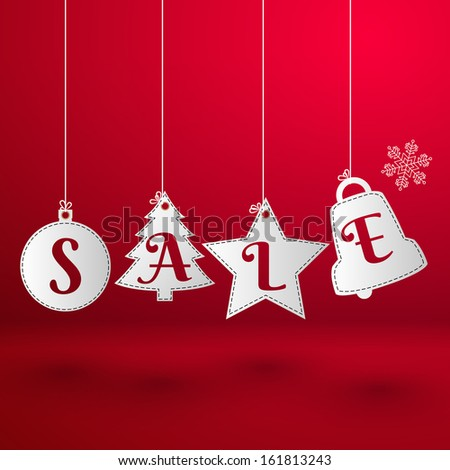 Christmas sale toys. Paper style. Vector Illustration, eps10, contains transparencies. - stock vector