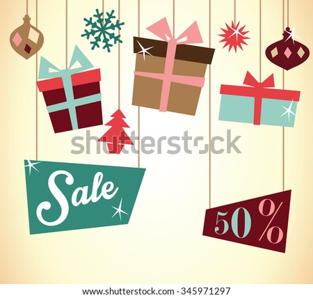 Christmas sale, vintage style - stock vector