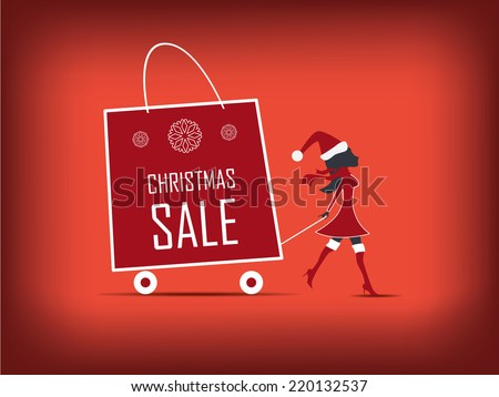 Christmas sales poster with fashionable people. Eps10 vector illustration. - stock vector