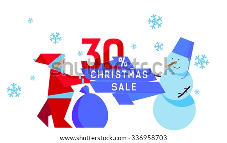 Christmas Sales: Santa and Snowman with thirty percent discount - stock vector