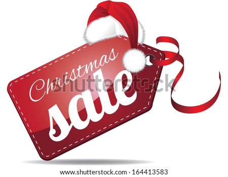 Christmas sales tag. EPS 10 vector, grouped for easy editing. No open shapes or paths. - stock vector
