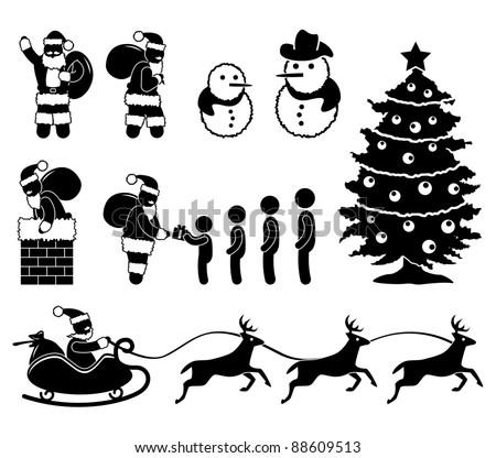 Christmas Santa Claus Snowman Winter Chimney Reindeer Winter Children Gift Present Icon Symbol Sign Pictogram - stock vector