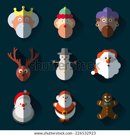 Christmas santa claus wisemen icons vector set - stock vector