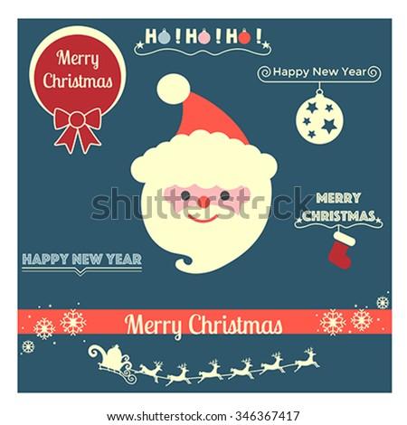 Christmas santa icon - vector, illustration. - stock vector