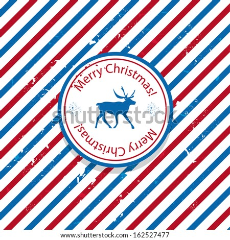 Christmas Santa post red and blue reindeer mail background - stock vector