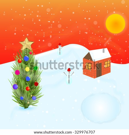 Christmas scene with a snowman and Christmas tree. Vector illustration. - stock vector