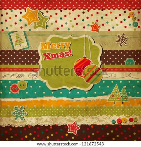 Christmas scrap vintage card with holiday frame - stock vector