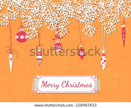 Christmas scrapbook card. Paper fir branches, baubles, teardrops and garlands over orange background with snowflakes. - stock vector