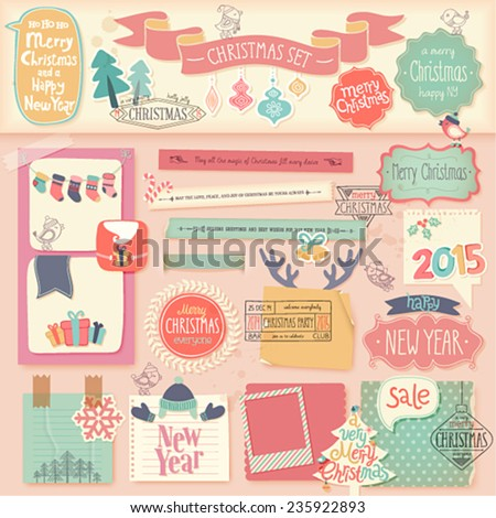 Christmas scrapbook set - decorative elements. Vector illustration. - stock vector