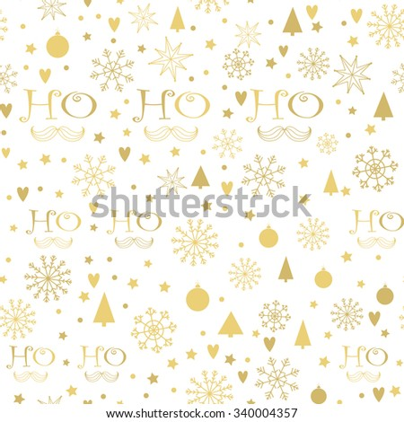 Christmas seamless background with golden Ho - Ho - Ho lettering, Snowflakes, Christmas trees, Stars. Hand drawn design for winter holidays. - stock vector