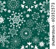 Christmas Seamless green pattern with white and blue snowflakes (vector) - stock vector