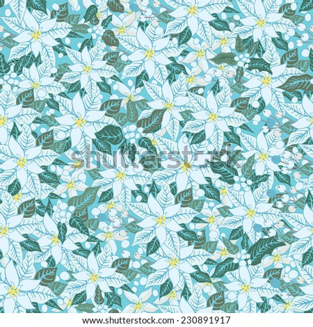 Christmas seamless pattern background with white poinsettia flowers, holly and mistletoe.Vintage background .For Backdrop,background,fabric,Wallpaper.Christmas,new year .Vector set - stock vector